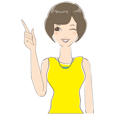 wink: Woman of bob hair has explained to me that wink Illustration