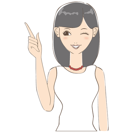 explained: Woman of black hair has explained to me that wink Illustration