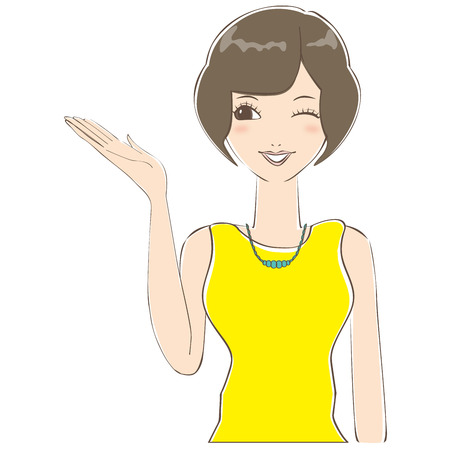 guid: Woman of bob hair has guided me that wink Illustration
