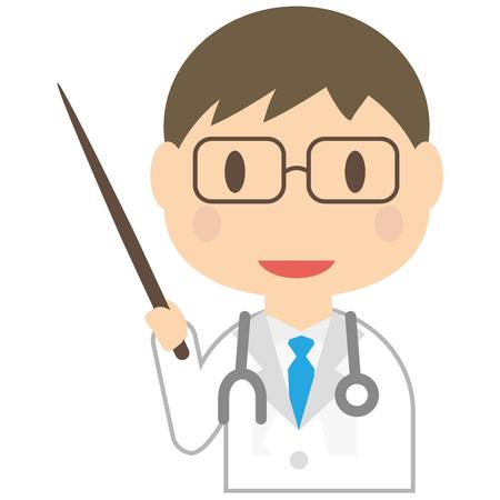 かわいい男の医者は、プレゼンテーションをされています。