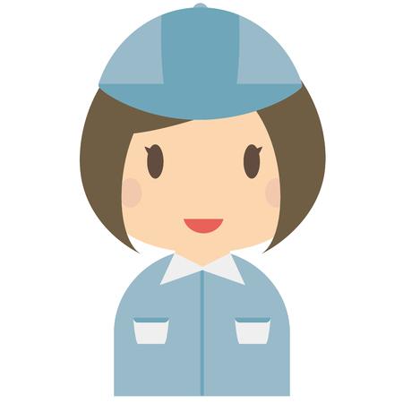 bobbed: Cute female bule workers