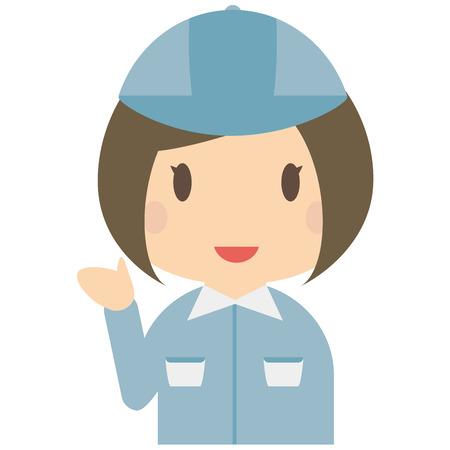Cute female bule workers has introduced