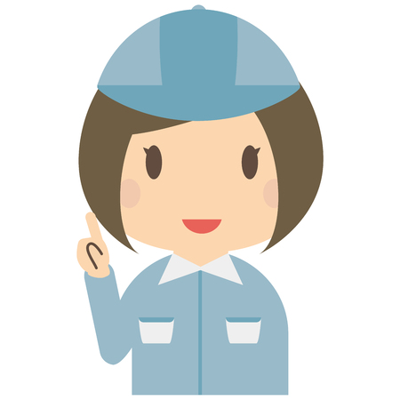 has: Cute female bule workers has to guide Illustration