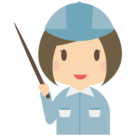 bobbed: Cute female bule workers have been presentation Illustration