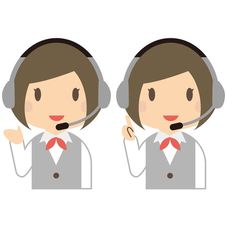 introduce: Smile of cute female operator to introduce and guide Illustration
