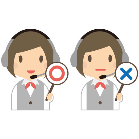incorrect: Smile of cute female operator to the correct and incorrect answers Illustration