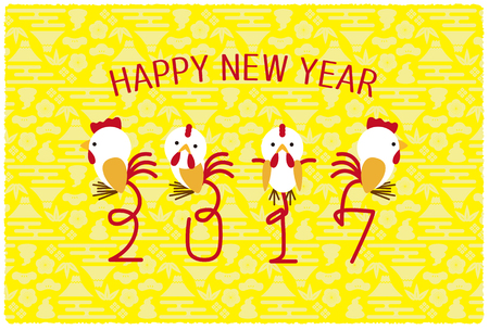 The background of a New Years card where a chicken was designed is yellow. Illustration