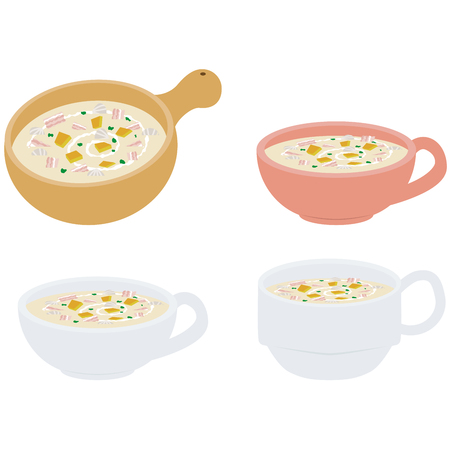 chowder: Clam chowder comes in the four vessels