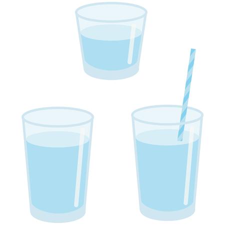 ガラス カップ水を飲む  イラスト・ベクター素材