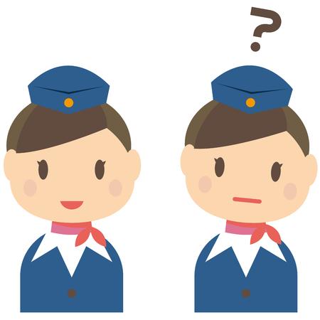 ca: Cute cabin crew cabin attendant CA smile and the question