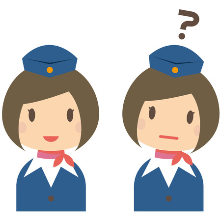 cabin attendant: Cute cabin crew with bobbed hair smile and the question Illustration