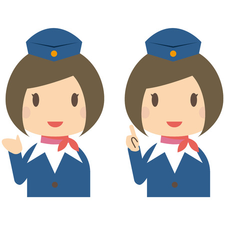 Cute cabin crew with bobbed hair  guidance and Introduction