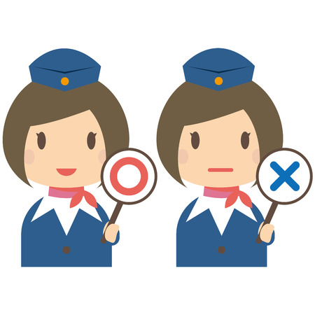 Cute cabin crew with bobbed hair correct and incorrect answers