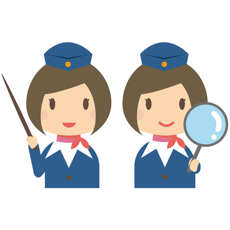 bobbed: Cute cabin crew with bobbed hair expansion and commentary