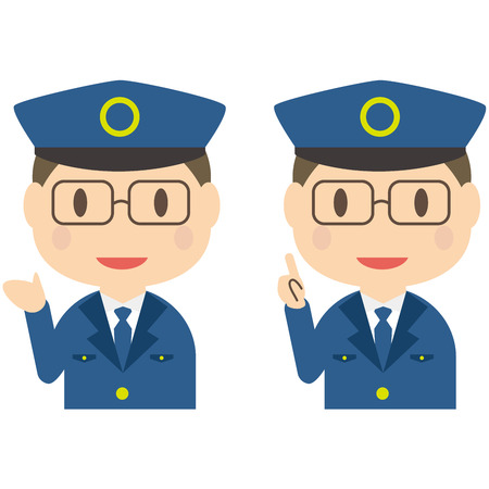 officers: Pose of the introduction to the guide of the male police officers who placed the glasses Illustration