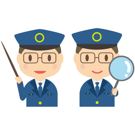 officers: Commentary and expansion pose of male police officers who placed the glasses