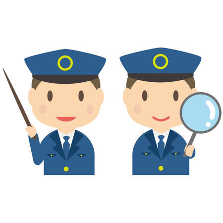 Commentary and expansion pose of male police officers