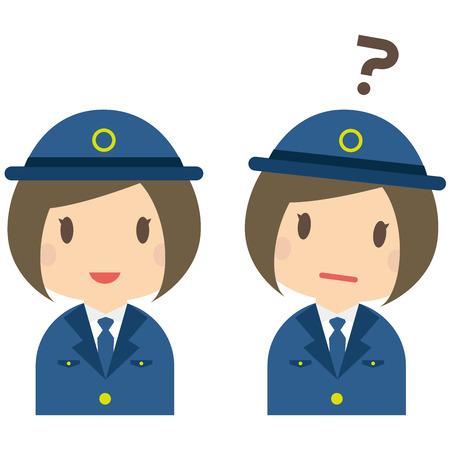 質問と女性警察官の笑顔