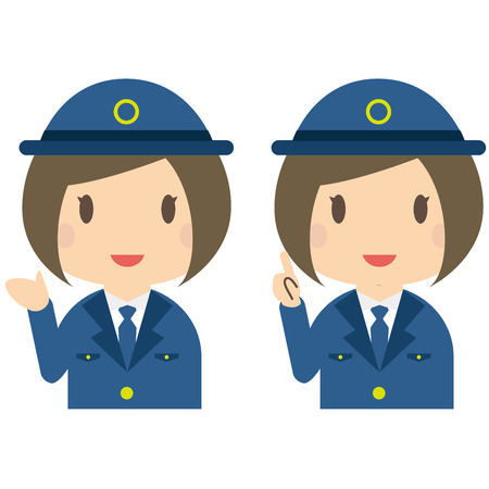 bobbed: Pose of the introduction to the guide of female police officers Illustration