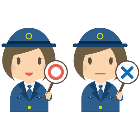 Pose of female police officers correct and incorrect answers