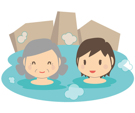 asian family: Cute family mother and daughter hot spring outdoor bath