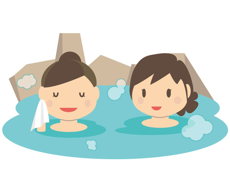 hot woman: Cute ladies two traveling hot spring outdoor bath.