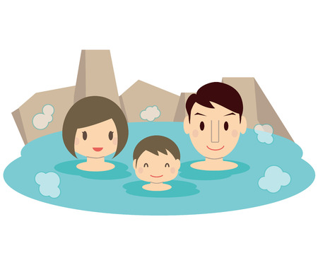 Cute family son and family Bathing hot spring outdoor bath.