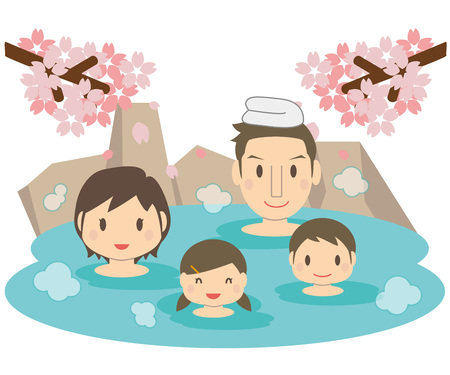 Cute family cherry tree and hot spring open-air bath