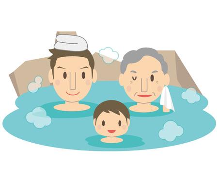 Cute family men hot spring hot spring outdoor 3 generations. Illustration