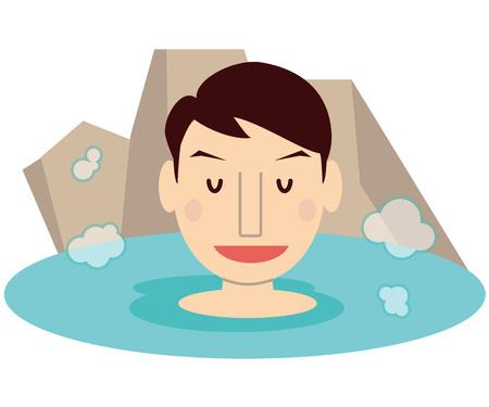 Cute family Dad Spa hot spring outdoor bath