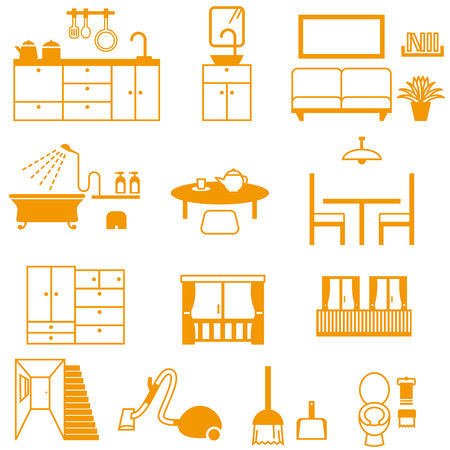 Home interior and cleaning tools  イラスト・ベクター素材