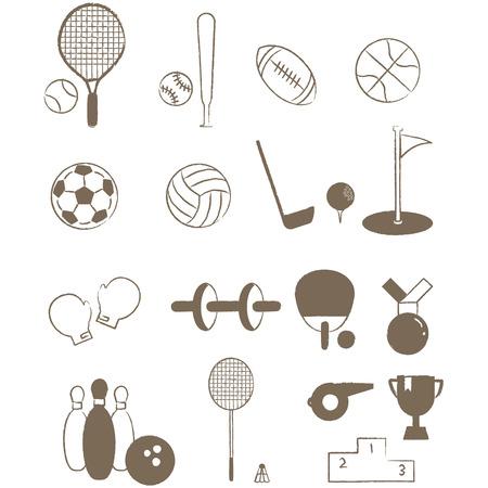 簡単な線画スポーツ アイテム アイコン素材