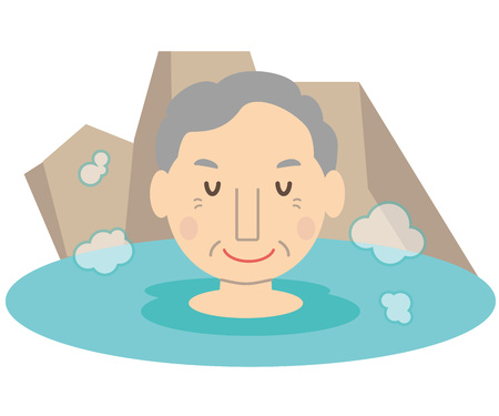 Cute family grandfather spa outdoor bath Illustration