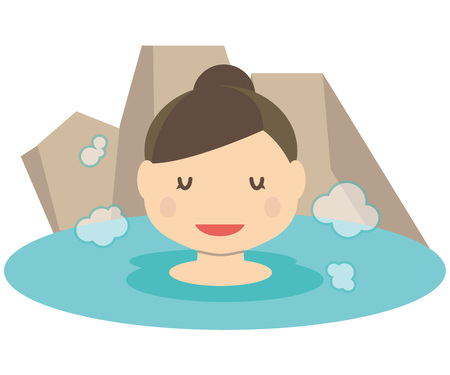 Cute family Mama hot spring open-air bath
