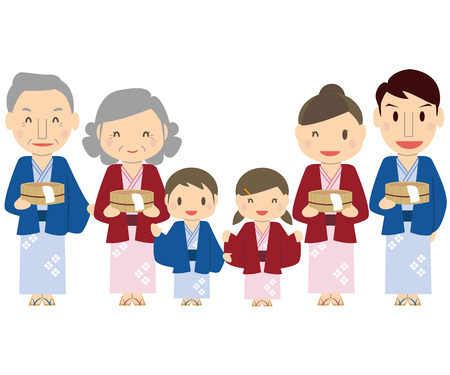 Have a cute 3 generations family bath tub and use a yukata on a hot spring
