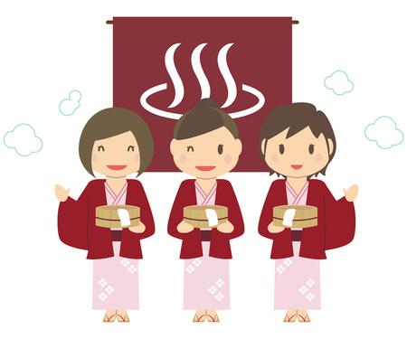 Cute girls 3 people Traveling with a bathtub Yukata spa Onsen