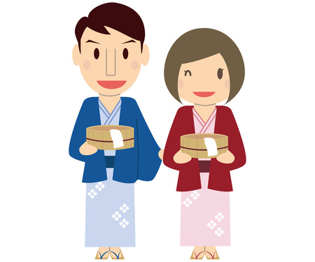 Have a cute family couple bath tub and wear a yukata onsen