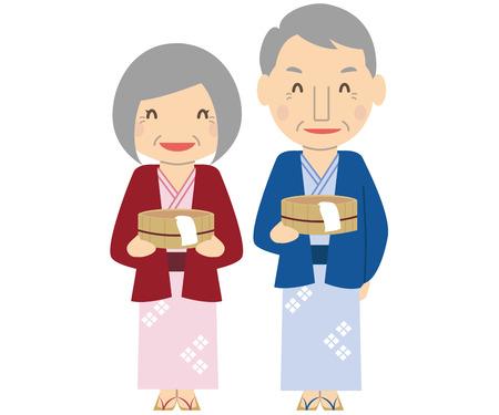 Cute family senior couple having a bath tub and a yukata onsen