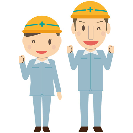 Refreshing couple wearing work clothes Smile Yellow helmet Small gut pose Illustration