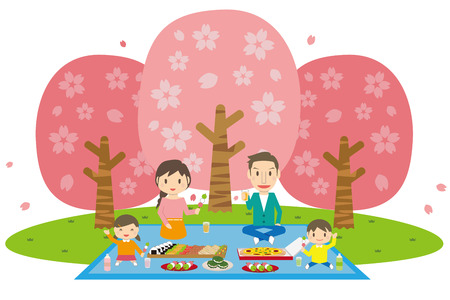 Cute family with cherry-bl?ss?m young daughter and son with picnic Illustration