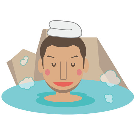 A cute African-American male enters a hot spring