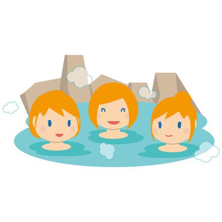Chica linda rubia extranjera 3 chicas entran en aguas termales Ilustración de vector