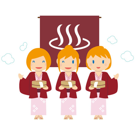 Cute blonde foreign lady 3 hot spa trip Illustration