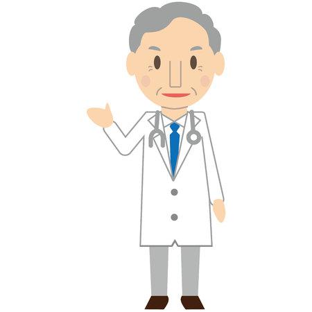 Cute elderly doctor guide