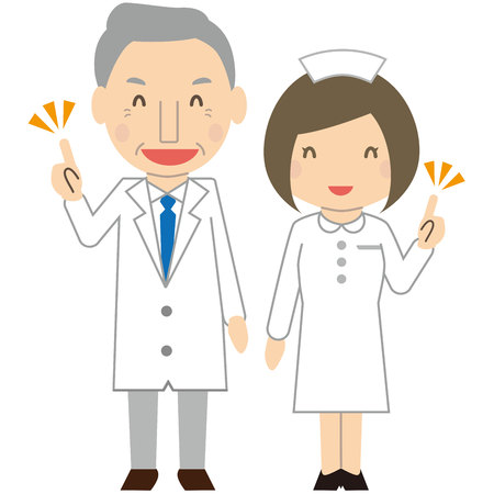 Cute elderly doctor and nurse Commentary with a smile