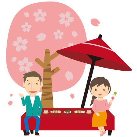 Cute Family 2 People Hanami Sakura's Downkeeping Umbrella Mama has dumplings Vectores