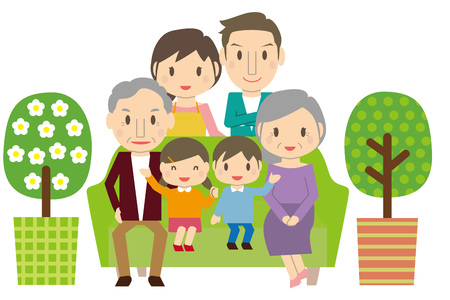 Cute 3 Generation Family Part 1 Sofa Living Illustration
