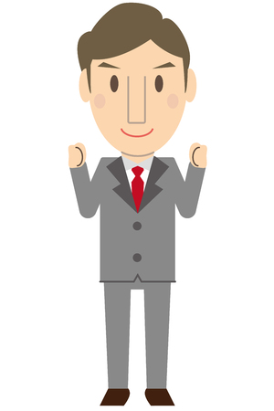 middleware: Middle-aged office worker in gray suit Small two-handed guts pose