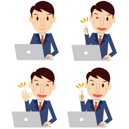 Cute men with dark blue suit Personal computer 4 pose set