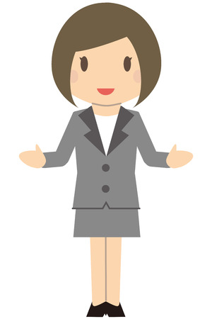 Cute business woman Bob and gray suit ladies Spread both hands and explain with a smile Illustration